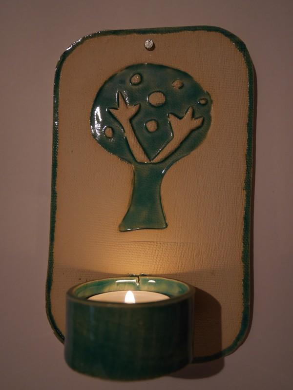 Teelicht petrol weiss Baum
